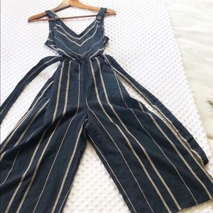 Universal Threads Blue and Tan Jumpsuit W/ Strings